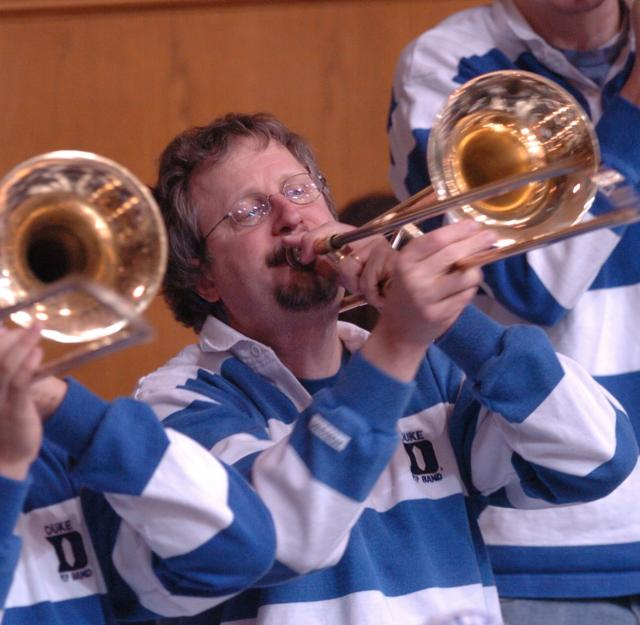 Steve Nowicki playing a trombone